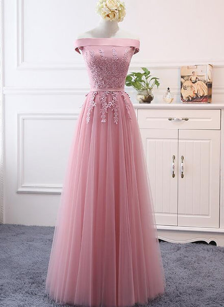Pink Off Shoulder A-line Tulle Floor Length Bridesmaid Dress, Pink Prom Dress