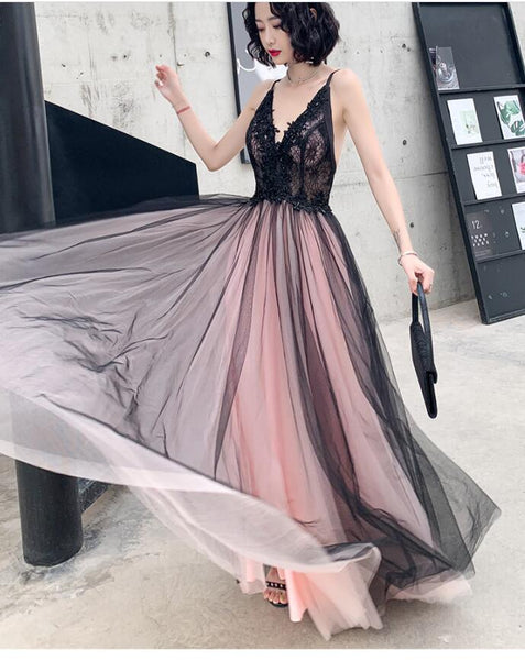 Fashionable Pink and Black Tulle V-neckline Party Dress, Pink Lace Applique Evening Gown