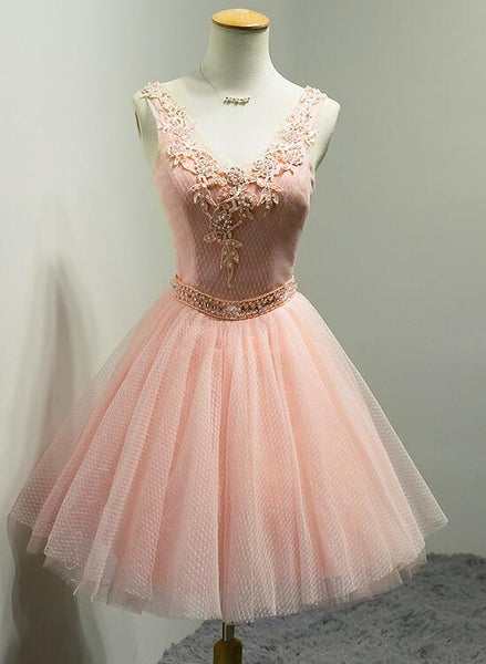 V-neckline Beaded Tulle Short Party Dress, Knee Length Homecoming Dress Prom Dress