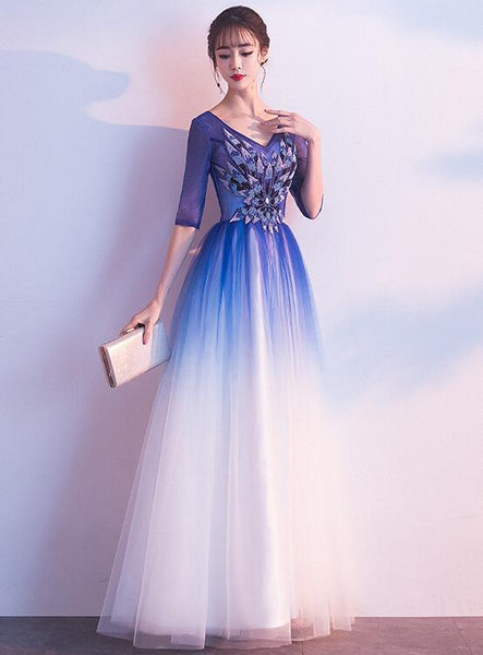blue gradient long party dress