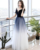 Elegant Tulle V-neckline Blue Evening Gown,Blue Formal Dress 2020