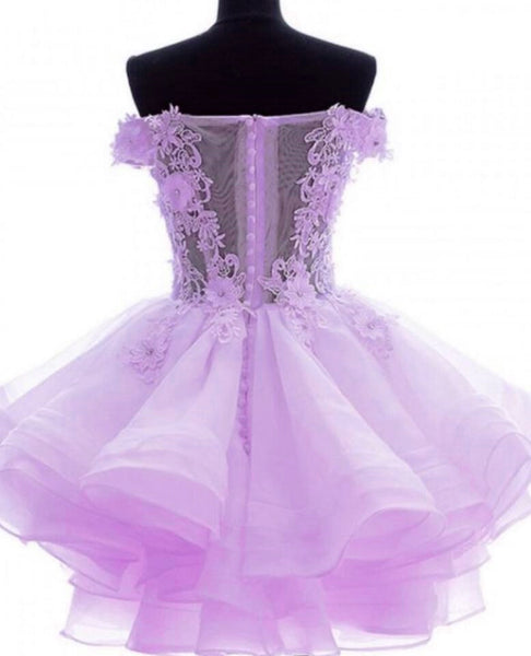 Lavender Off Shoulder Organza Short Lace Applique Teen Formal Dress, Charming Formal Dress 2018