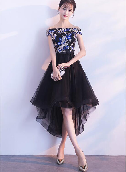 Elegant High Low Embroidery Off Shoulder Party Dresses, Black Homecoming Dresses, Cute Party Dresses