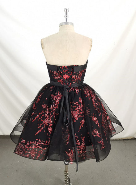 Cute Black Lace Floral Short Party Dress 2020, Black Homecoming Dress