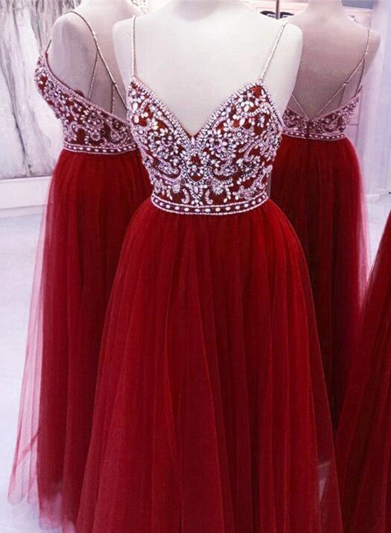 Red Tulle Unique Junior Prom Dresses Beaded Top With Tulle Skirt