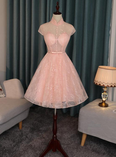 Pink Lace High Neckline Short Homecoming Dress, Lace Lovely Formal Dresses