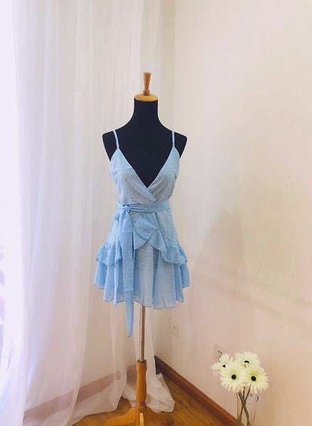 Beautiful Light Blue Chiffon Straps Mini Dress, Women Summer Dresses 2019