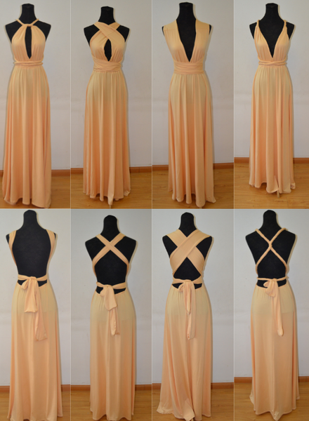 Beautiful Light Champagne Multi Way Bridesmaid Dress, Women Summer Dress,Convertible Dresses