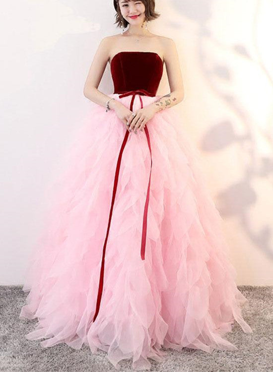 Lovely Pink Tulle and Wine Red Velvet Formal Gowns, Beautiful Party ...