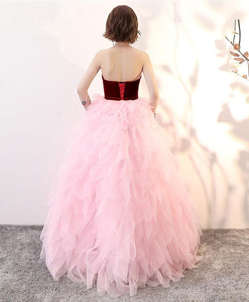 Lovely Pink Tulle and Wine Red Velvet Formal Gowns, Beautiful Party Dresses 2018