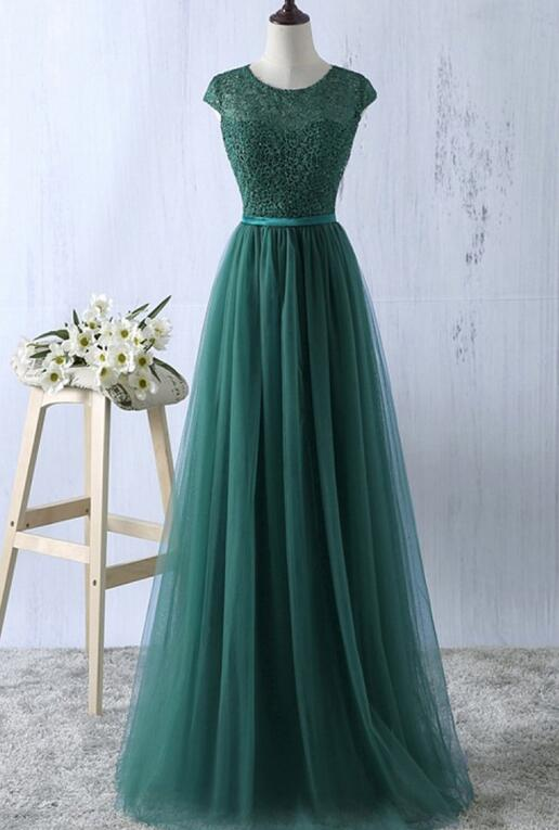 Pretty Green Prom Dresses 2018, Tulle A-line Simple Bridesmaid ...