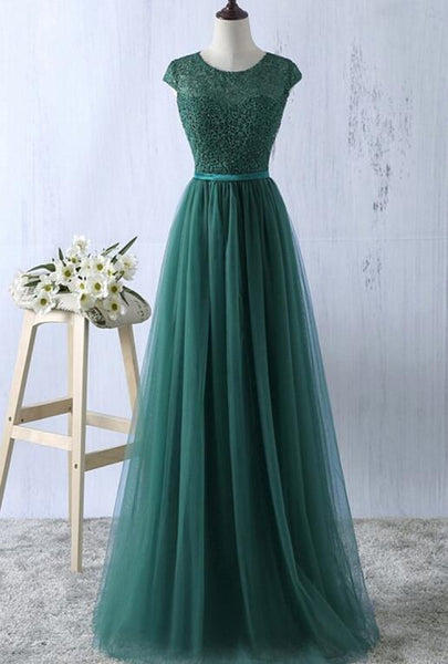Pretty Green Prom Dresses 2018, Tulle A-line Simple Bridesmaid Dresses, Lovely Formal Dresses