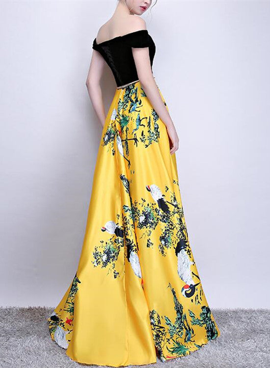 Yellow Floral Satin Long Off Shoulder Formal Gowns, New Style Prom ...