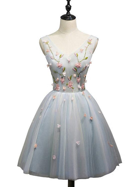 Cute Light Blue Tulle Short Party Dress, Light Blue Formal Dress, Teen Homecoming Dress