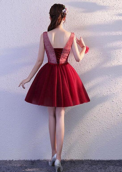 Wine Red Tulle Short Party Dress, V-neckline Formal Dress, Party Dress for Homecoming