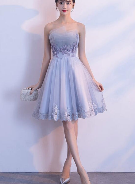 Grey Short Tulle Bridesmaid Dress with Applique, Lovely Unique Formal Dresses, Lovely Dresses for Party