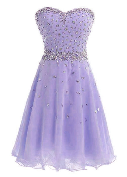 Beautiful Lavender Short Beaded Junior Prom Dress, Cute Party Dress 2019