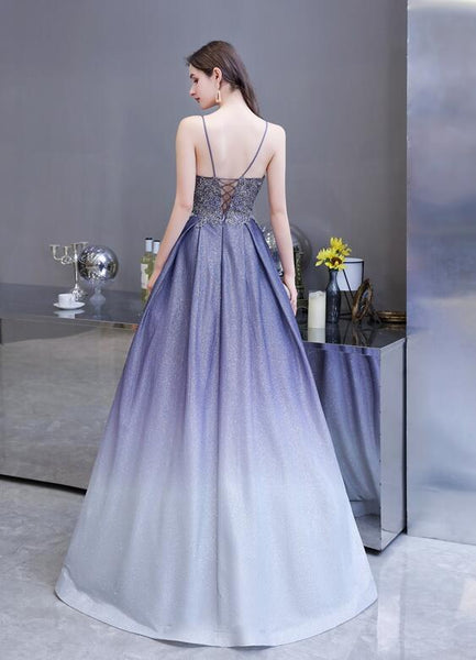 Beautiful Lavender Gradient Beaded Straps Long Formal Dress, A-line Low Back Prom Dress