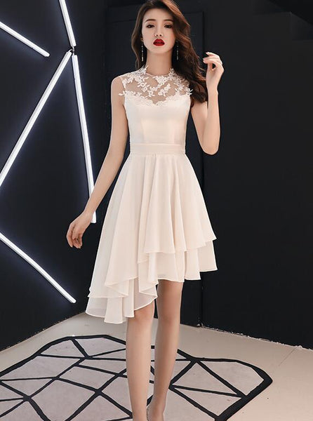 Chic High Low Chiffon and Satin Lace Party Dress, High Low Homecoming Dress Prom Dress
