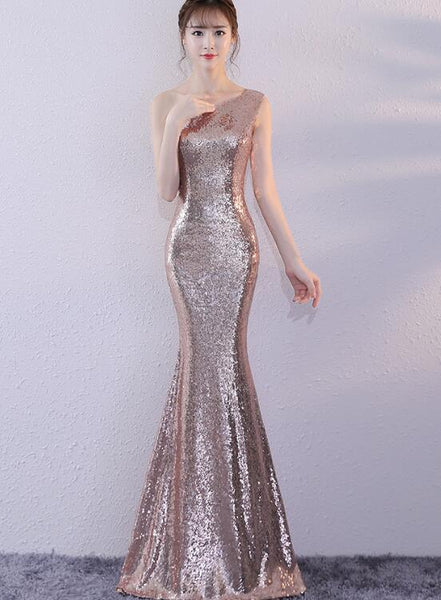rose gold sequins mermaid party dress