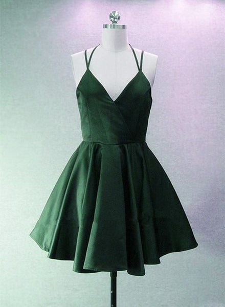 Green Halter Short Satin Long Party Dress, Green Homecoming Dresses 2018, Short Party Dress