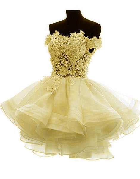 Light Yellow Off Shoulder Lovely Organza Party Dress, Cute Short Prom Dress 2019
