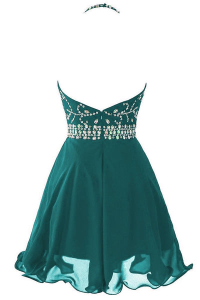 Beautiful Green Chiffon Halter Beaded Prom Dress 2019, Lovely Homecoming Dresses