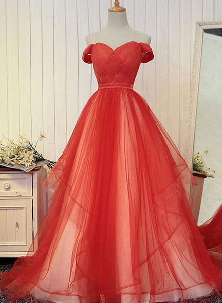 red off the shoulder tulle gown