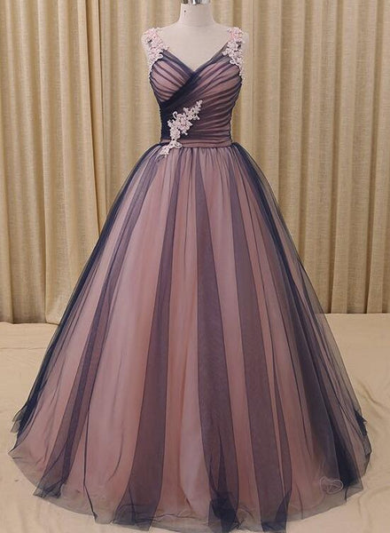 Navy Blue and Pink A-Line V-Neck Prom Dress,Tulle Ball Gown Formal Evening Dress 2018