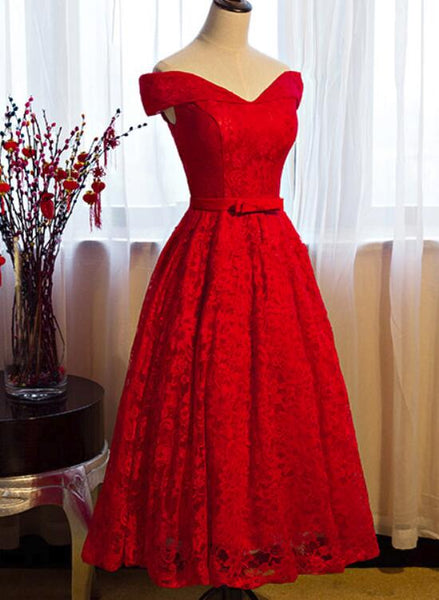 Red Lace Vintage Off Shoulder Tea Length Party Dress, Red Formal Dress, Beautiful Dresses 2018