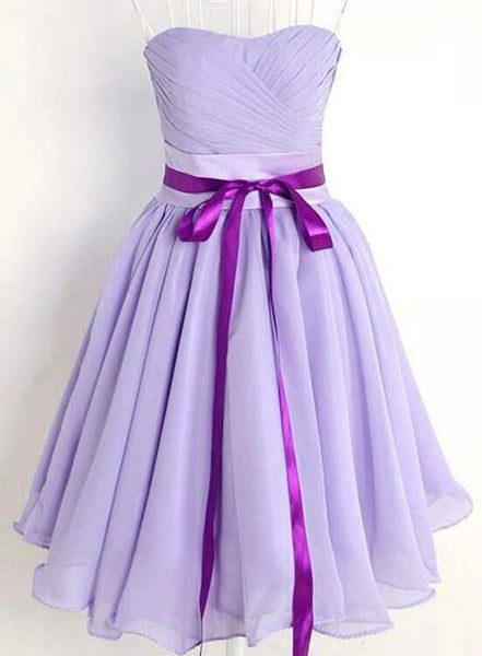Lavender Chiffon Short Sweetheart Party Dress with Bow, Cute Party Dresses, Bridesmaid Dresses