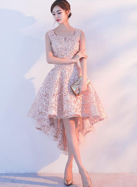 Lovely Pink High Low Lace Party Dress, Lovely Formal Dress 2020