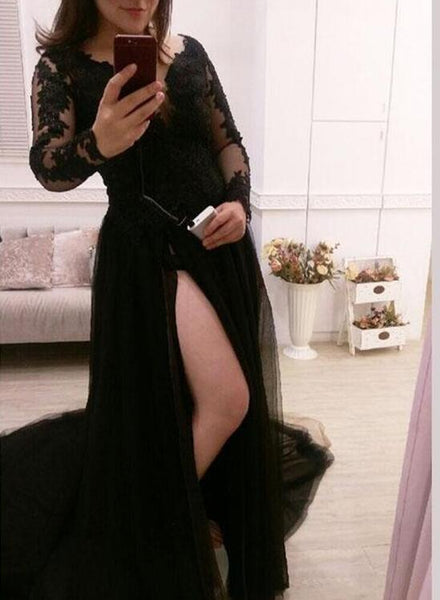 Sexy Black Evening Gowns, Long Sleeves V-neckline Party Dresses, Formal Dresses 2018