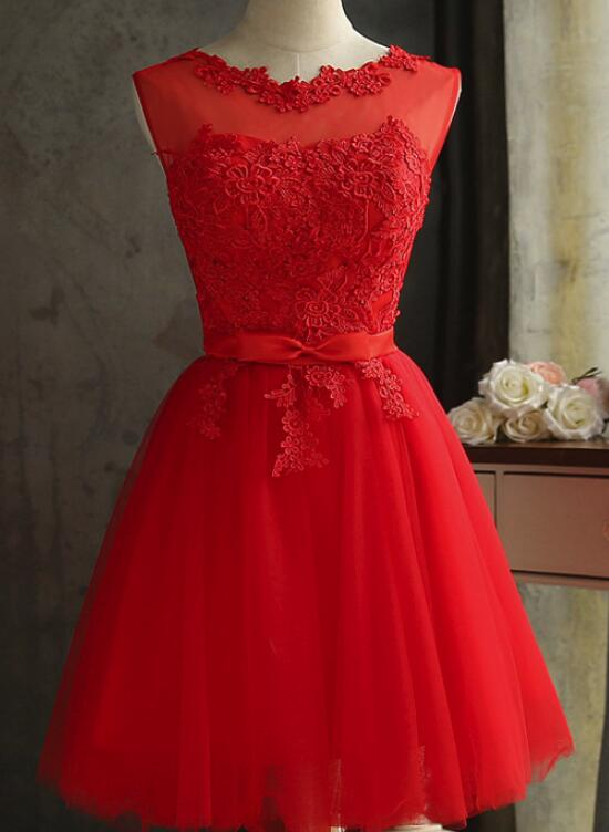 a035ceb13f1c Red Tulle Short Lovely Knee Length Party Dresses