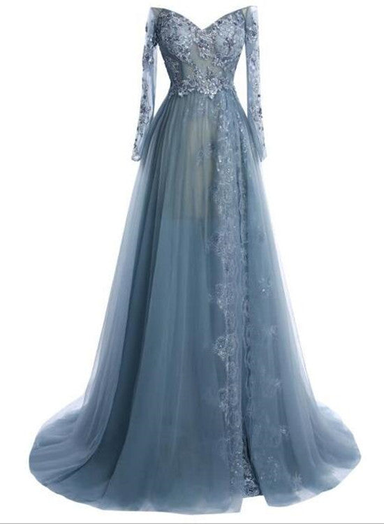 Glam Long Sleeves Tulle Formal Dresses, Evening Gowns, Prom Gowns ...