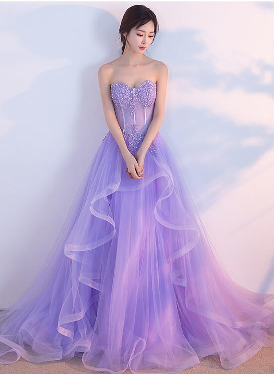 Charming Lilac Tulle Elegant Gown, Prom Gowns, Elegant Party Dresses ...