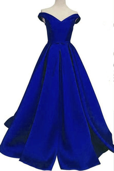 Royal Blue Off Shoulder Satin Party Dress, Blue Formal Dress, Blue Evening Gowns