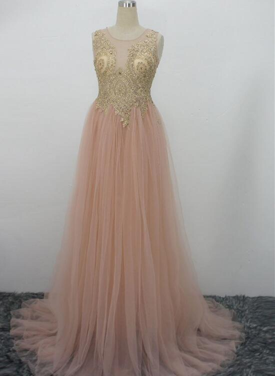 Pink Tulle Party Dress with Gold Lace Applique Prom Dress, Pink ...