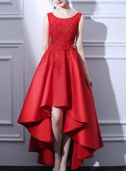 Beautiful Red Satin and Lace High Low Round Neckline Party Dress, Red Party Dress, Red Homecoming Dresses