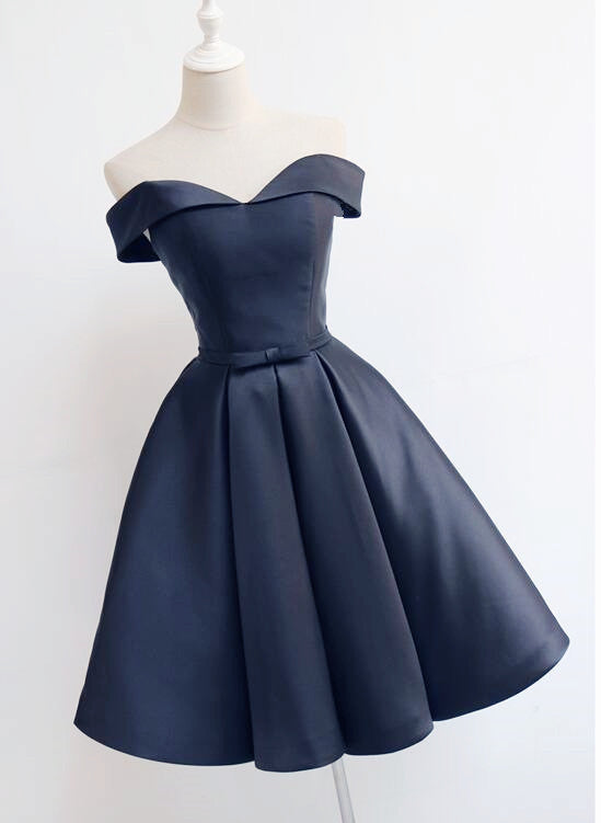 a0375dcec964 Beautiful Navy Blue Short Off Shoulder Sweetheart Party Dress