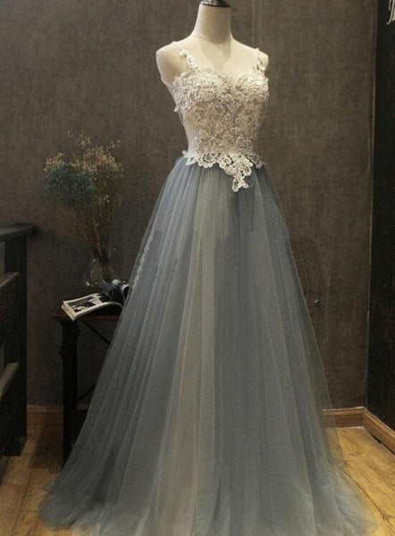 Grey Tulle and Applique Sexy A-line Long Formal Dress, Grey Party Dress 2018, Formal Dress 2018