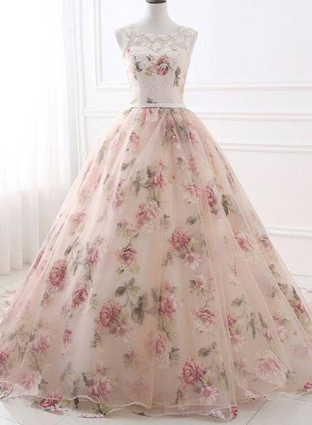Charming Floral Organza Woman Formal Gowns,  Ball Gowns Pink Dress, Charming Party Dresses