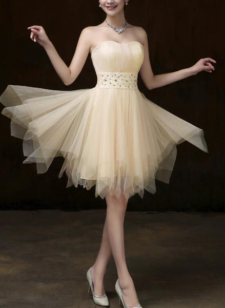 Light Champagne Simple Tulle Short Women Dresses in Stock, Light Champagne Teen Dresses for Sale