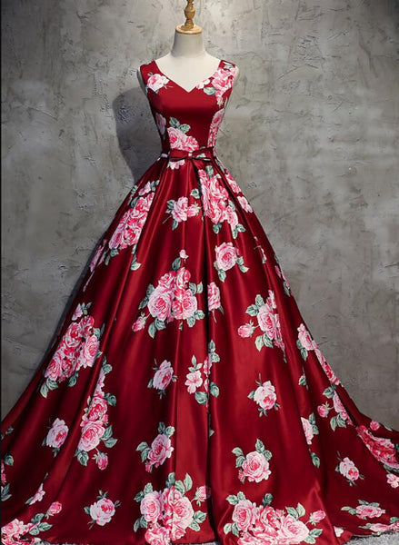 Dark Red Floral V-neckline Gorgeous Gowns, Red Formal Gowns, Pretty Floral Formal Dresses