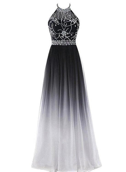 Black and White Gradient Long Halter Beaded Chiffon Party Dress, Charming Formal Dress, Handmade Evening Gowns
