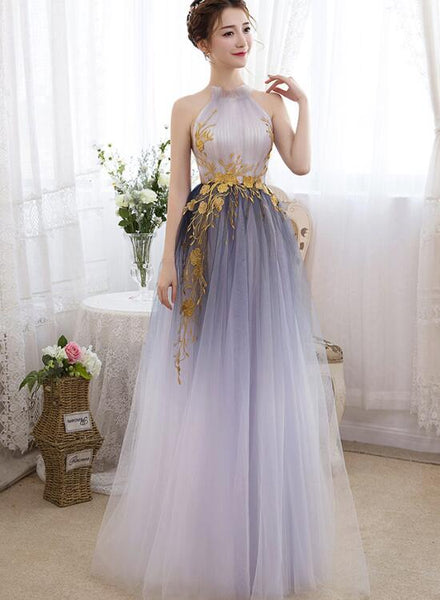 Beautiful Gradient Tulle Halter Elegant Formal Gowns
