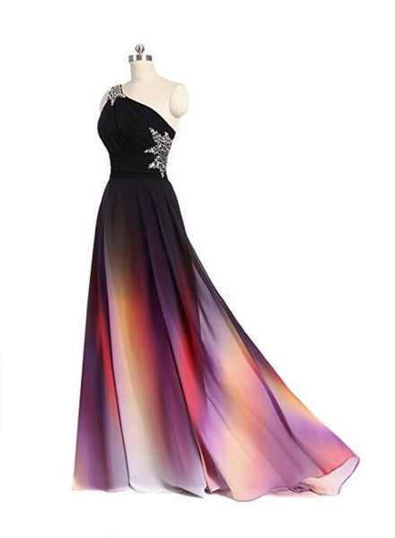 One Shoulder Beaded Gradient Chiffon Long Party Dress, Gradient Formal Gowns