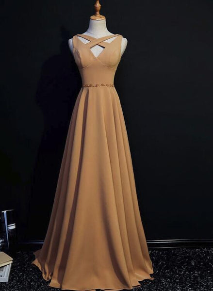 Unique Yellow A-line Floor Length V-neckline Long Party Gowns, Woman Formal Gowns, Pretty Occasion Dresses