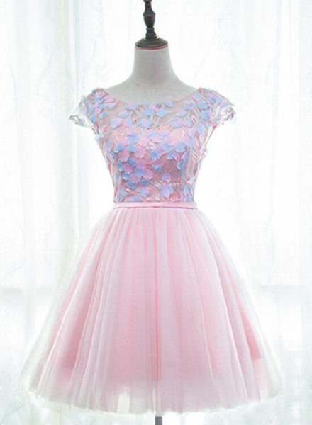 Pink Tulle Cute Girls Party Dresses, Lovely Short Round Neckline with Flowers Party Dresses