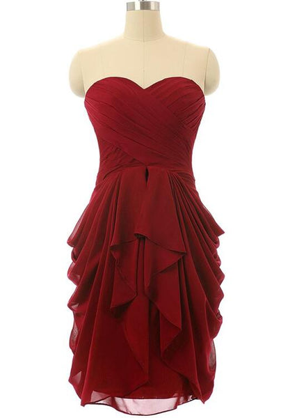 Dark Red Sweetheart Chiffon Short Bridesmaid Dress with Cascade Skirt, Wine Red Bridesmaid Dress 2018